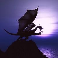 3D fantasy dragon against sunset ocean